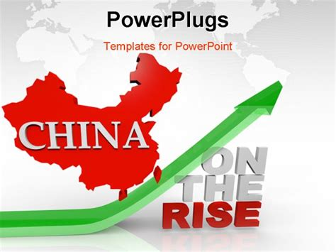 china powerpoint template map of china an arrow upward the words on the