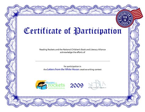 Template For Certificate Of Participation certificate of participation template playbestonlinegames