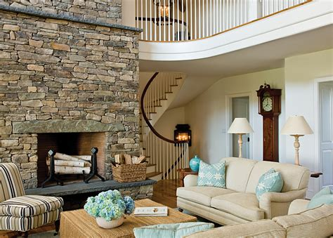 design fieldstone fireplace in living room ifresh design