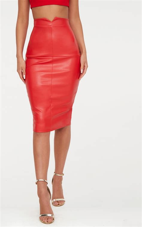 Faux Leather Panel Skirt faux leather panel midi skirt skirts