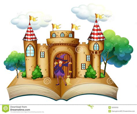A Storybook a storybook with a castle and a witch stock vector