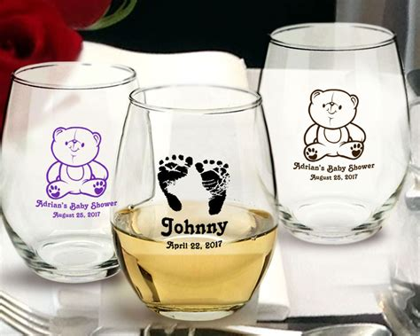 baby shower personalized wine glass baby shower personalized stemless wine glasses 5 5 oz arc