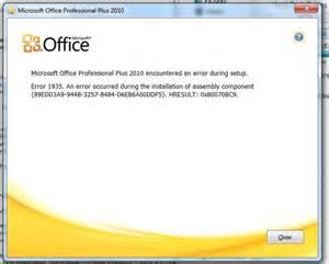 microsoft office professional 2010 installation error 1935