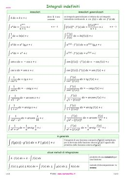 integrali tavola formulario tavola degli integrali indefiniti