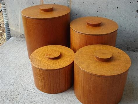 set of 4 all wood kitchen canister set