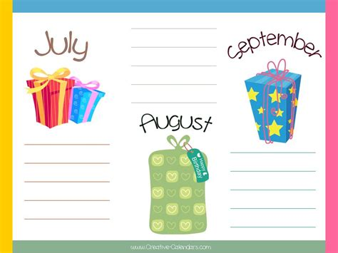 birthday calendar template free 8 best images of office birthday list printable