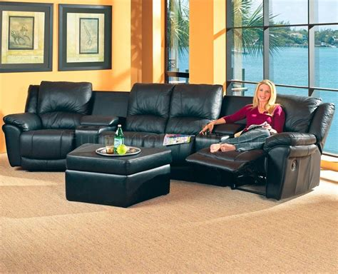 Theater Sectional Sofa Black Bonded Leather Match Modern Home Theater Sectional Sofa