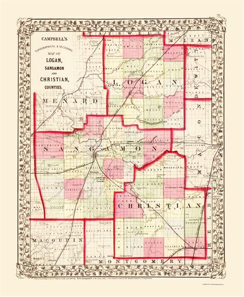 chicago map 1850 county maps sangamon logan christian counties