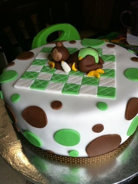 Green Baby Shower Cake by Green Brown Monkey Baby Shower Cake Cakecentral