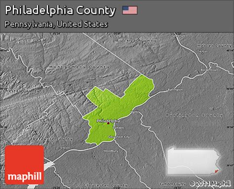 united states map philadelphia free physical map of philadelphia county desaturated