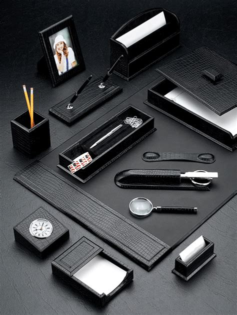 Desk Blotters And Accessories Black Croco Leather Desk Blotter And Accessories Set