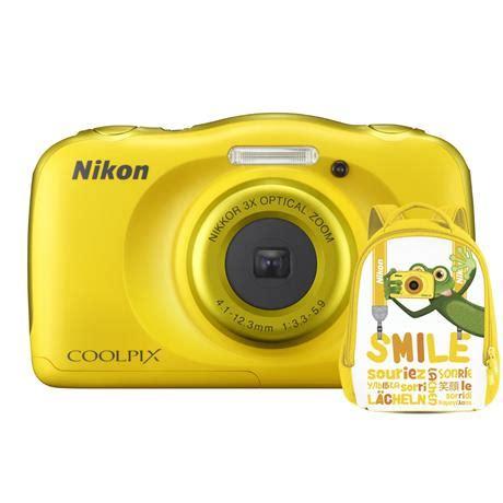 nikon coolpix w100 waterproof camera yellow + backpack kit