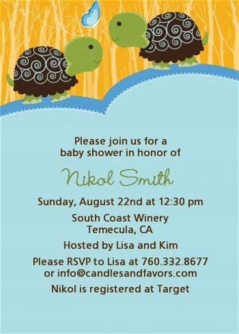 Turtle Baby Shower Invitations Boy by Turtle Boys Baby Shower Invitations Candles And Favors