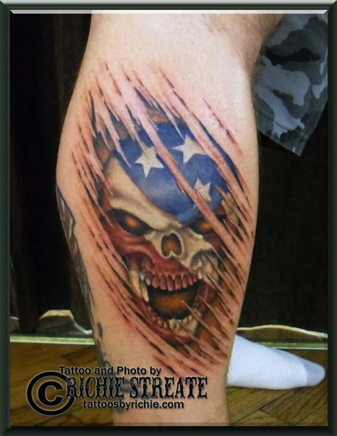 american flag ripped skin tattoo 100 american tattoos