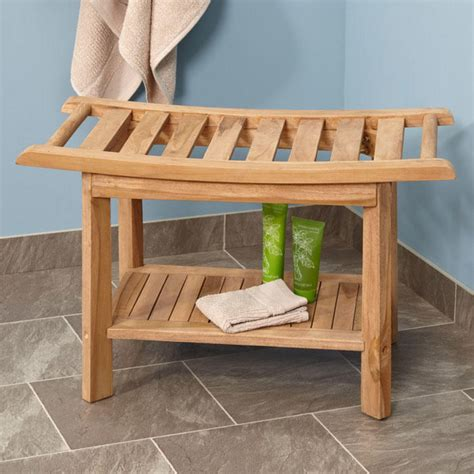 curved shower bench large teak curved rectangular shower seat bathroom