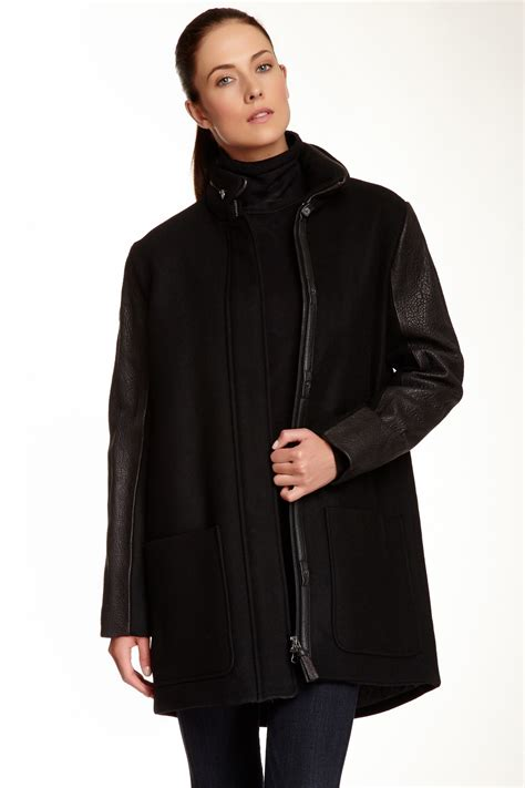 Nordstrom Rack Coats by Mackage Azel Wool Blend Coat With Leather Contrast