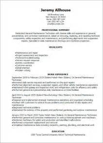 Maintenance Resume Template Professional General Maintenance Technician Templates To