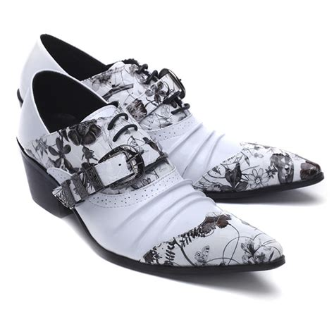 Pointed Genuine Leather Oxfords printed leather flower genuine leather oxfords pointed