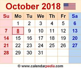 Calendar 2018 Printable October October 2018 Calendars For Word Excel Pdf