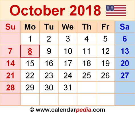 Calendar October 2017 To May 2018 October 2018 Calendars For Word Excel Pdf