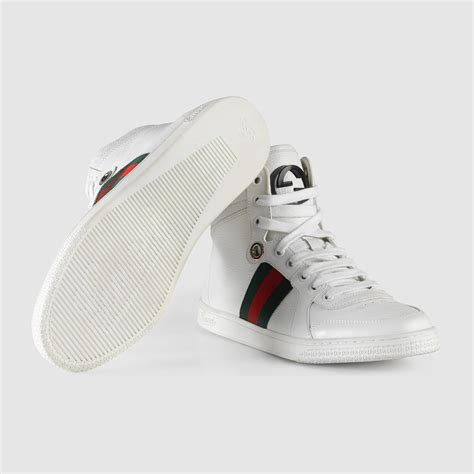 Gucci White lyst gucci high top leather sneaker in white