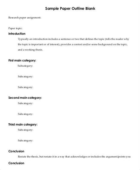 research paper template printable research paper outline template 8 free word