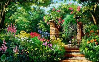 Arched Cabins charming flowers amp garden gate wallpapers charming