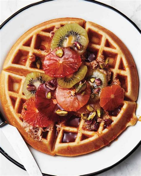 fruit waffles golden waffles with tropical fruits