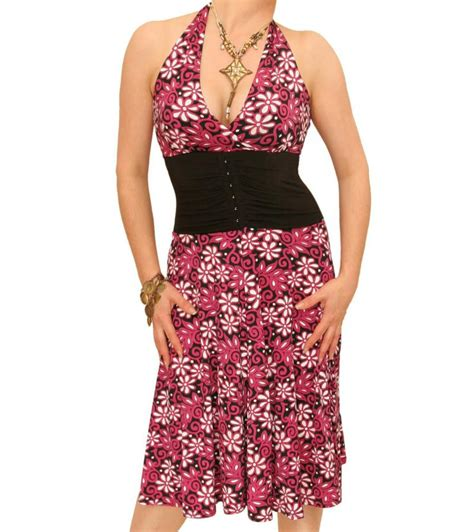 Pink Halter Corset Top Lace Flower Print Overbust Corset Vest Corsets Vangies Closet Pink Floral Print Corset Style Halter Dress