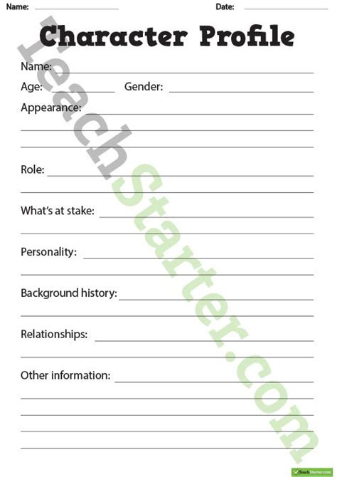 character description template ks1 detailed character profile worksheet teaching resource