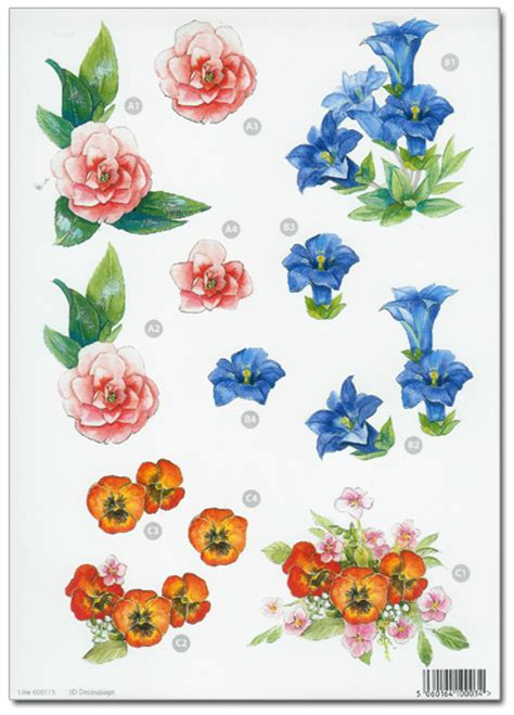 Decoupage Flowers - die cut 3d decoupage a4 sheet floral designs 746 163 1