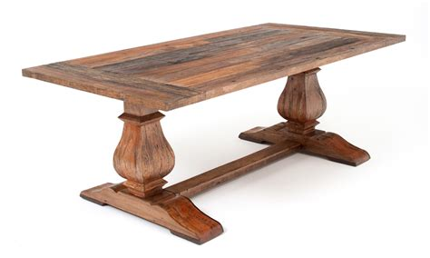 rustic trestle base table reclaimed wood tuscan