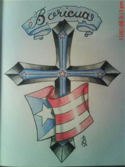 boricua drawing of the puerto rican flag banner and a