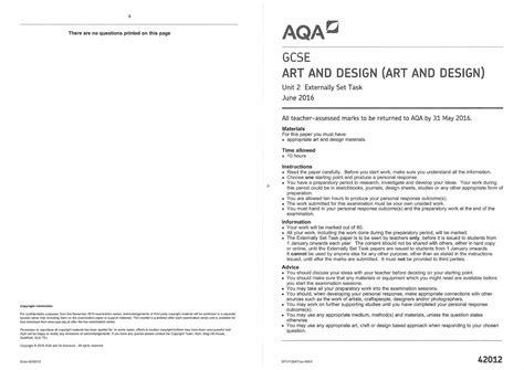 layout of a report gcse gcse art and design unit 2 exam paper 2016 by wellington