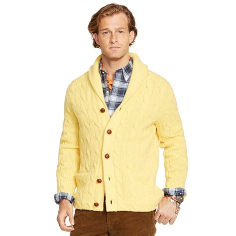 Pashmina Ima Polos Pip 10 lyst polo ralph cable shawl cardigan in yellow