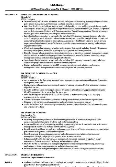 hr business partner resume sles velvet
