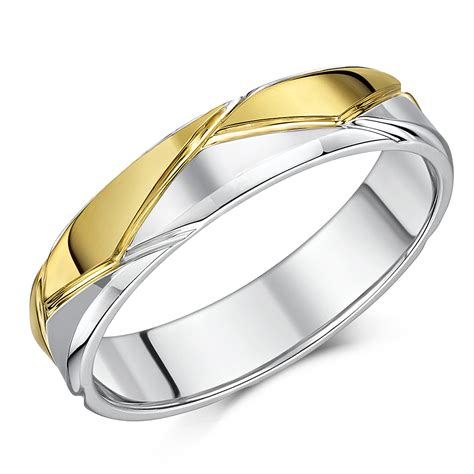 5mm Wedding Ring by 5mm Silver 9ct Yellow Gold Patterned Wedding Ring