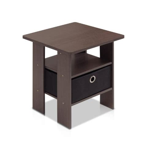 furinno 11157dbr bk end table bedroom stand w bin