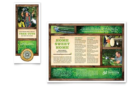 tree service tri fold brochure template word publisher