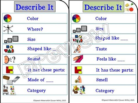 describe it speech therapy describe it visual prompt for attributes