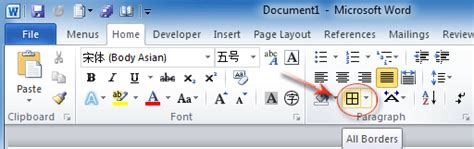 word 2016 2013 2010 using simple borders for a table of contents where is border in microsoft office 2007 2010 2013 and 365