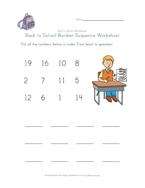 Number Sequencing Worksheets by Back To School Number Sequence Worksheet