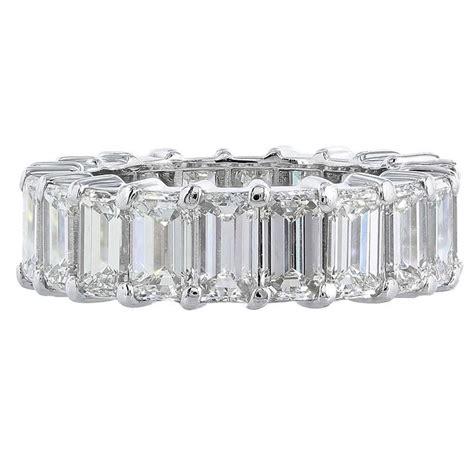 8 29 carat emerald cut platinum eternity band ring