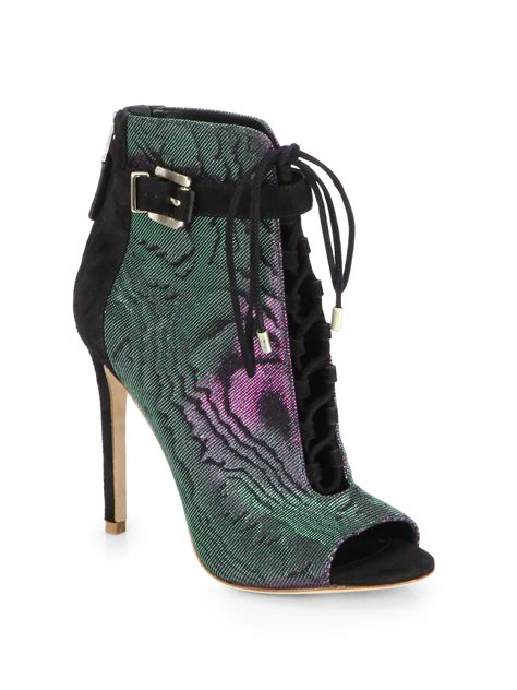 b brian atwood lindford iridescent canvas suede peeptoe
