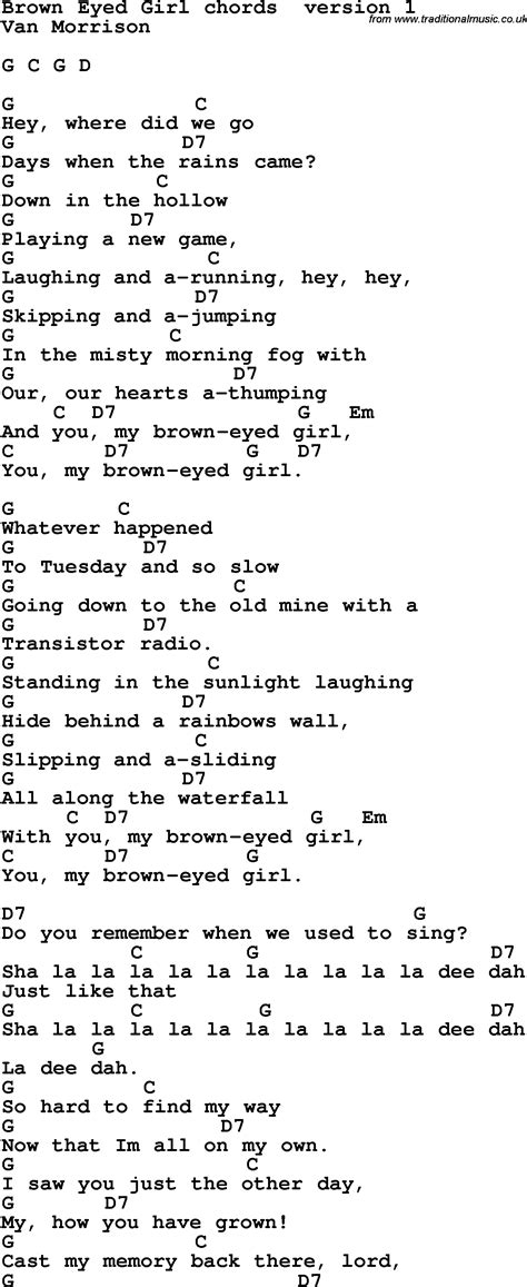 strum pattern to brown eyed girl song lyrics with guitar chords for brown eyed girl