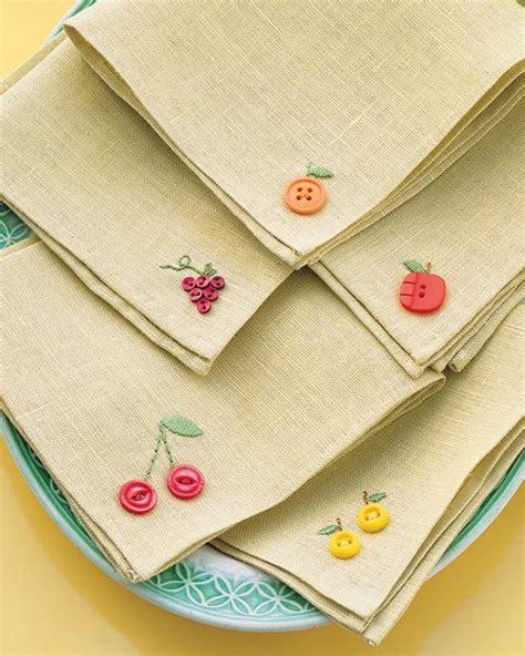 martha stewart diy crafts fruity button embroidery napkins step by step diy