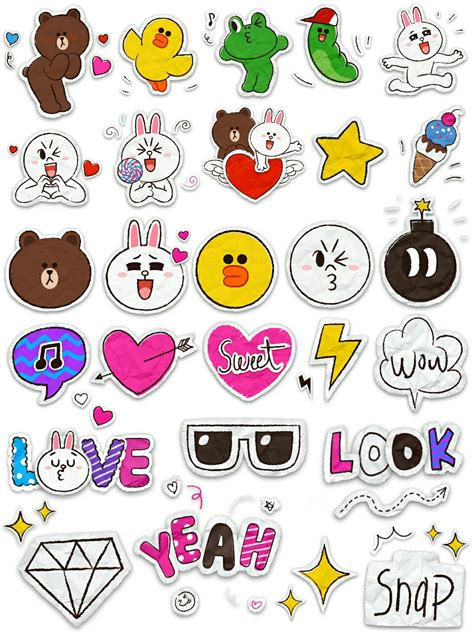 printable korean stickers line friend sticker printable line brown conny cute