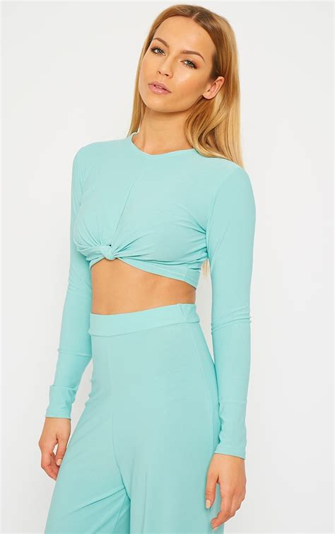 Zafia Top zafia mint knot front crop top crop tops coords prettylittlething prettylittlething