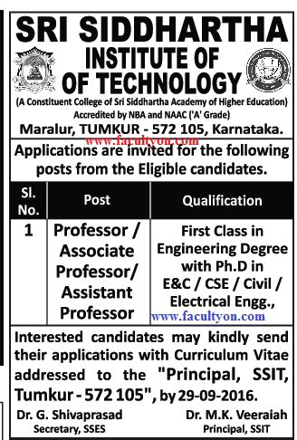 newspaper the institute sri siddhartha institute of technology tumkur wanted teaching faculty faculty teachers