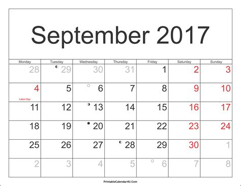 Calendar 2017 Template With Holidays September 2017 Calendar Printable Template With Holidays Pdf